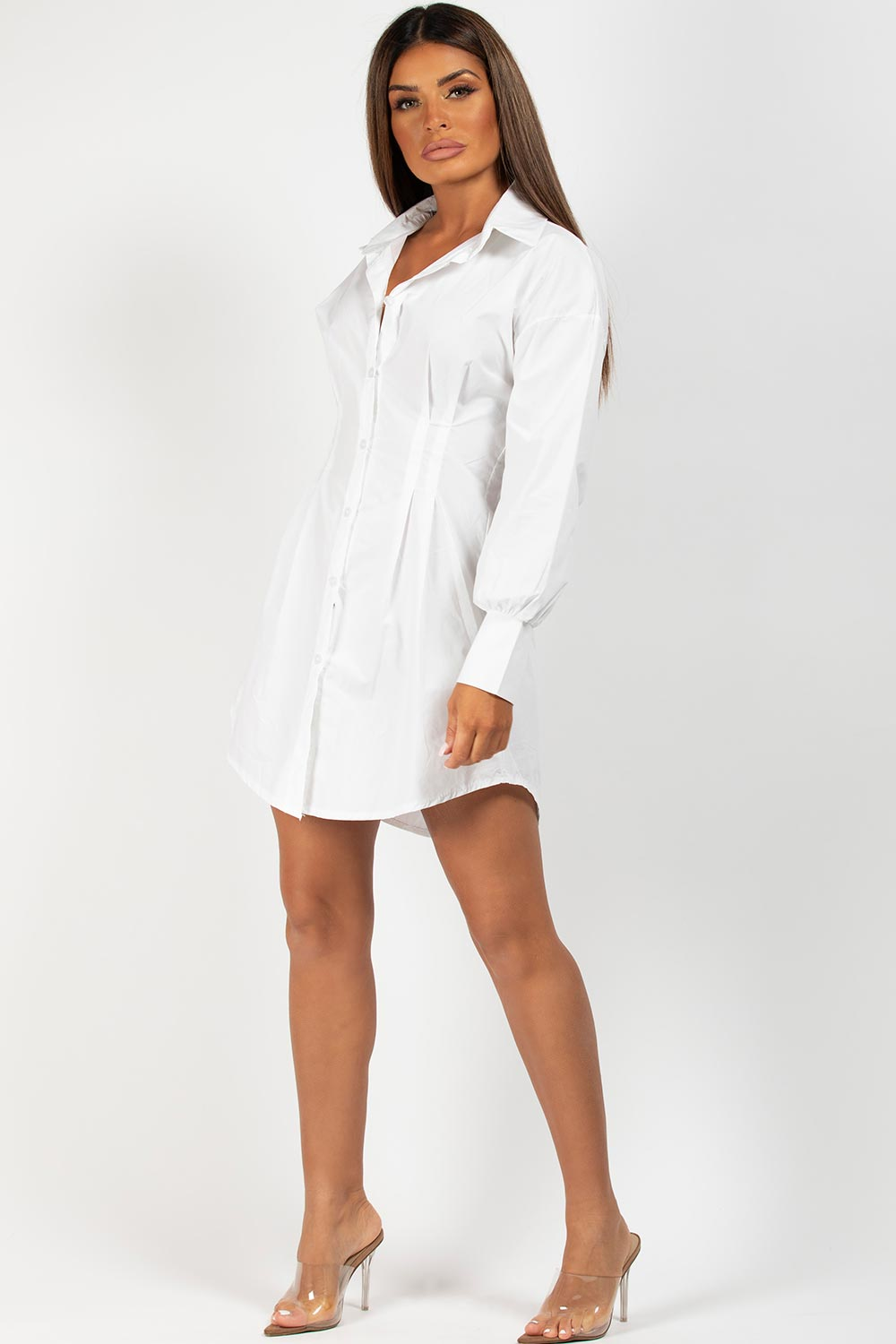 white long sleeve shirt dress on sale