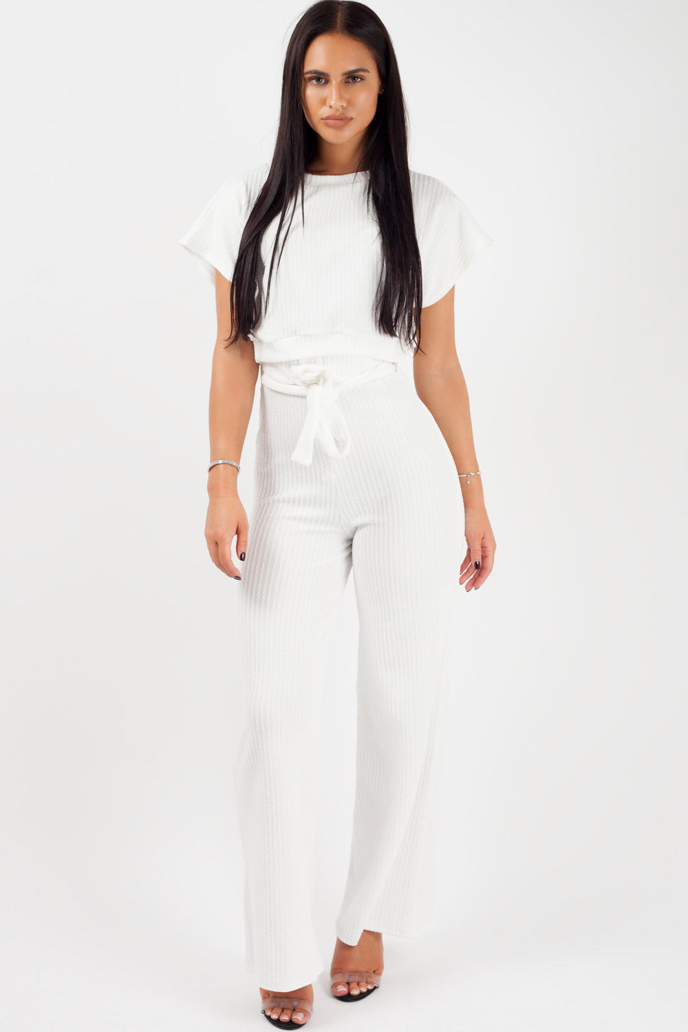 wide leg trousers and crop top loungewear co ord set