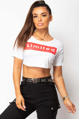 white crop top with limited slogan