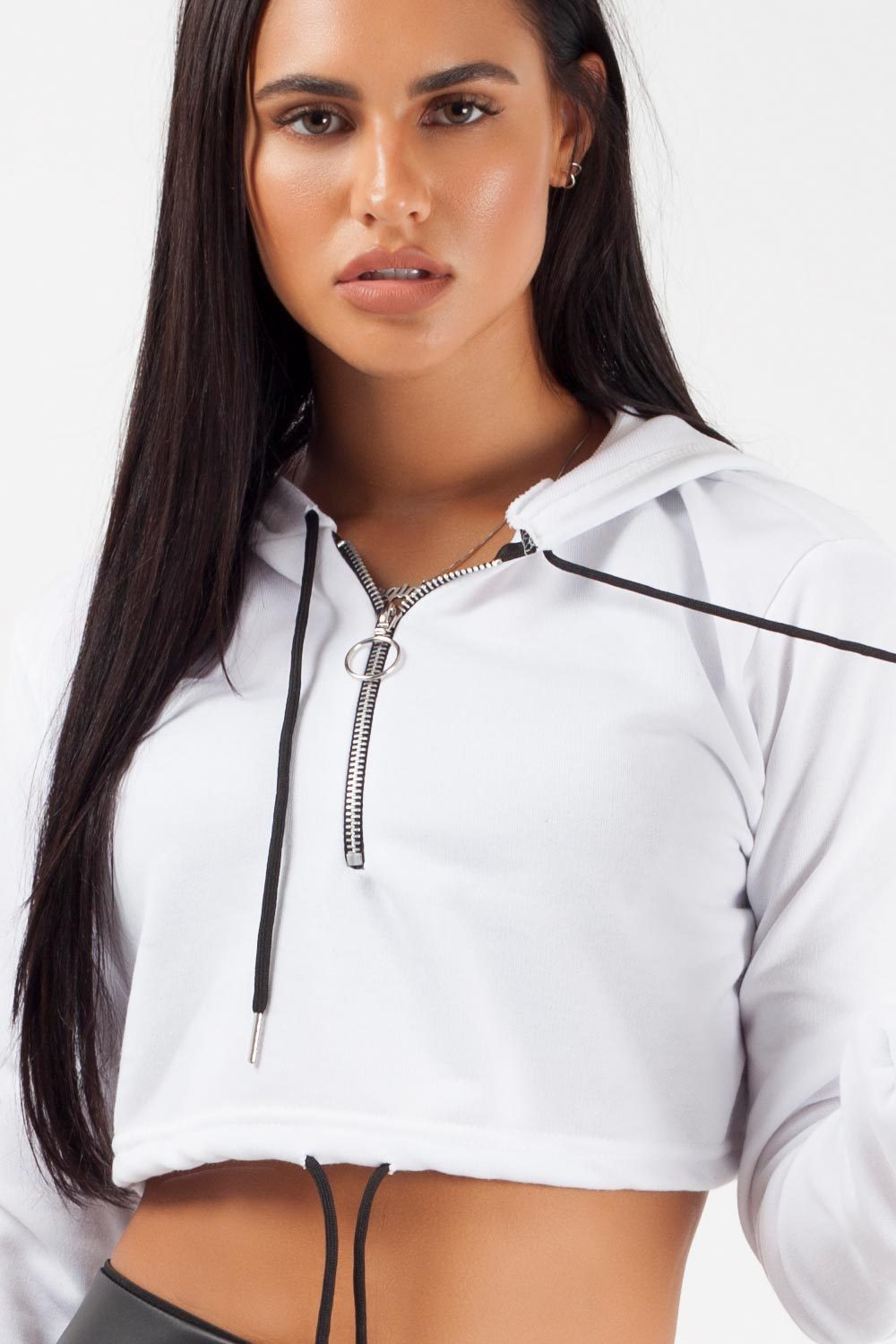 zip front crop hoodie white on sale