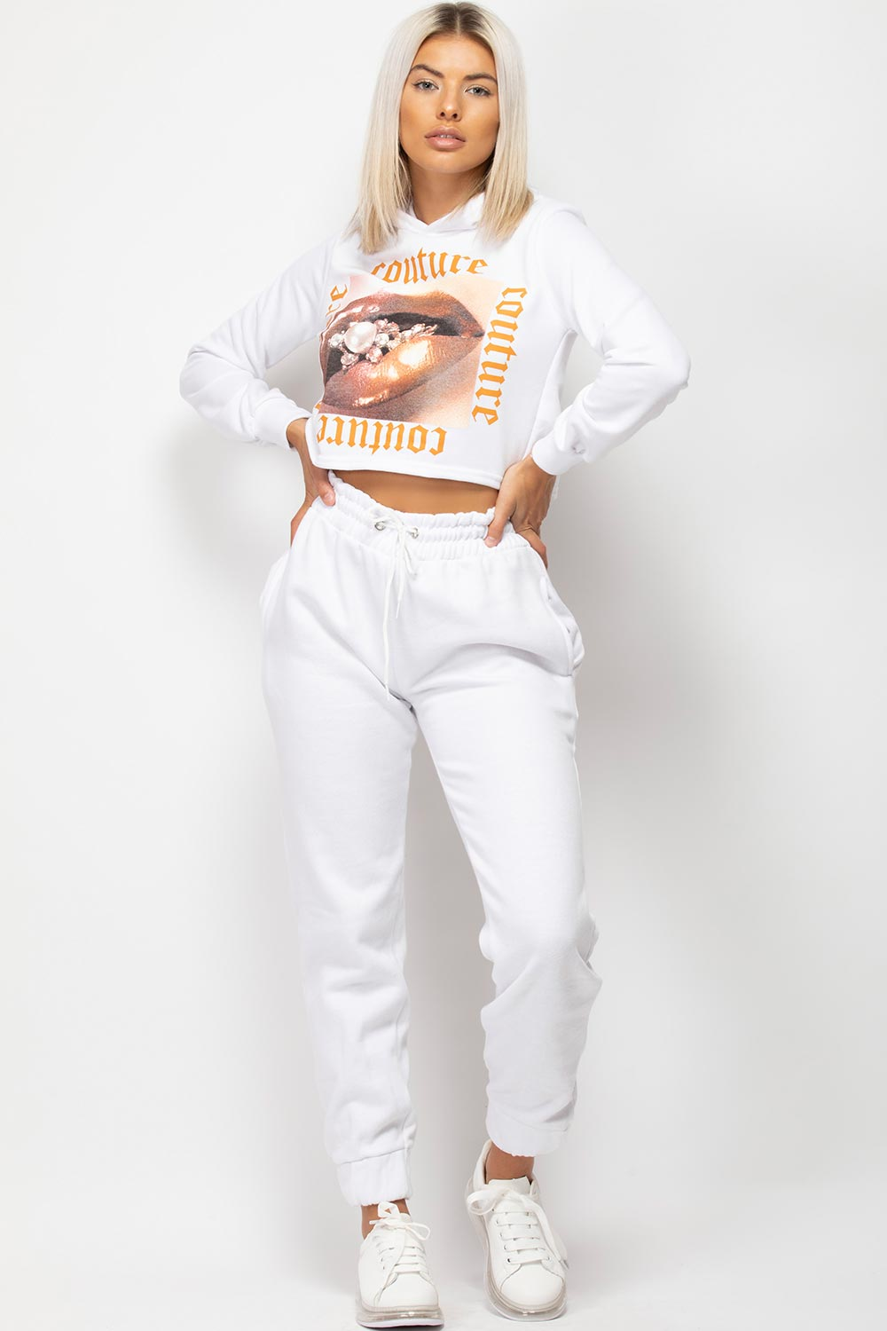 White Couture Graphic Slogan Cropped Hoodie