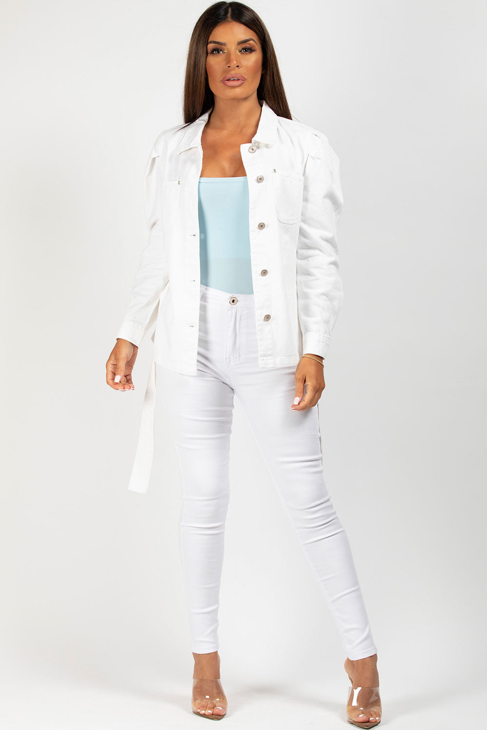 white puff sleeve denim jacket
