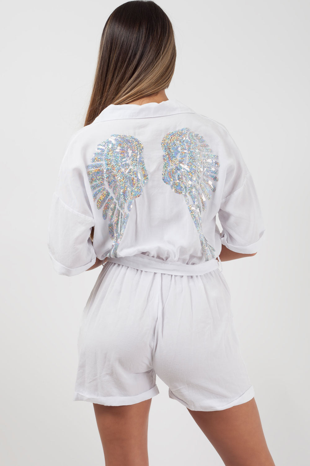 Sequin Wings Utility Playsuit White