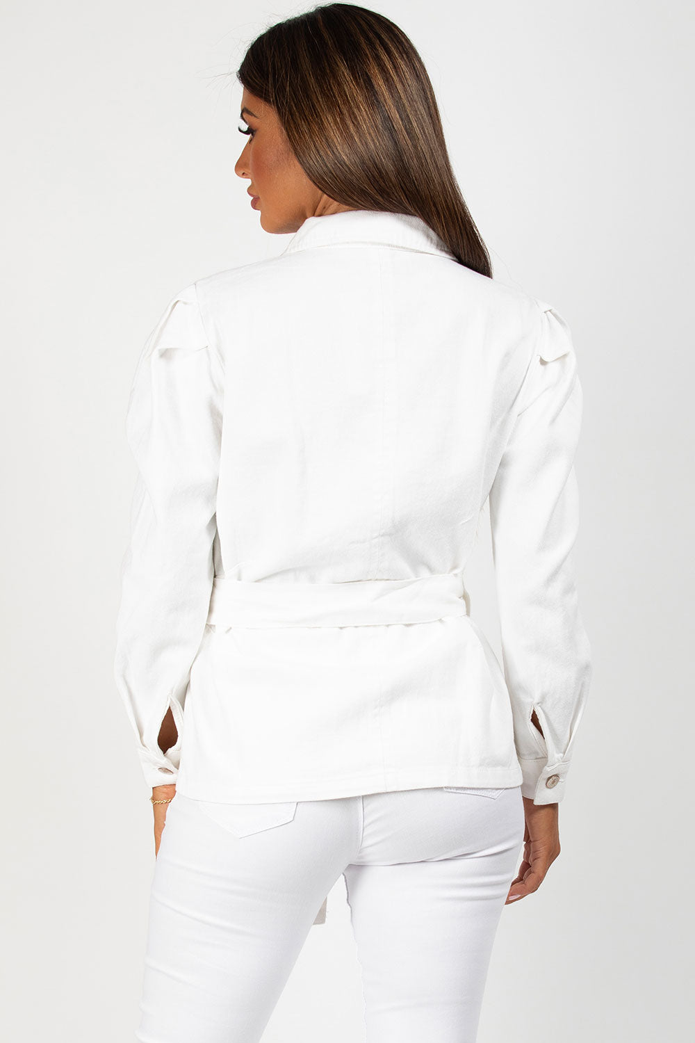 puff sleeve white denim jacket with belt