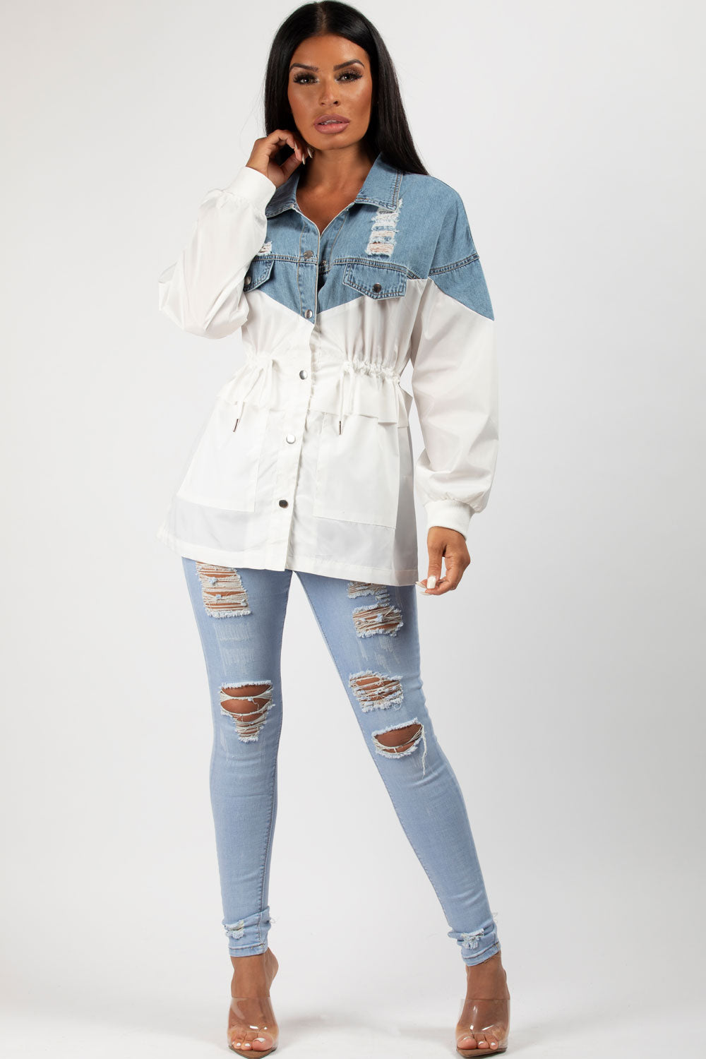 distressed denim shirt womens