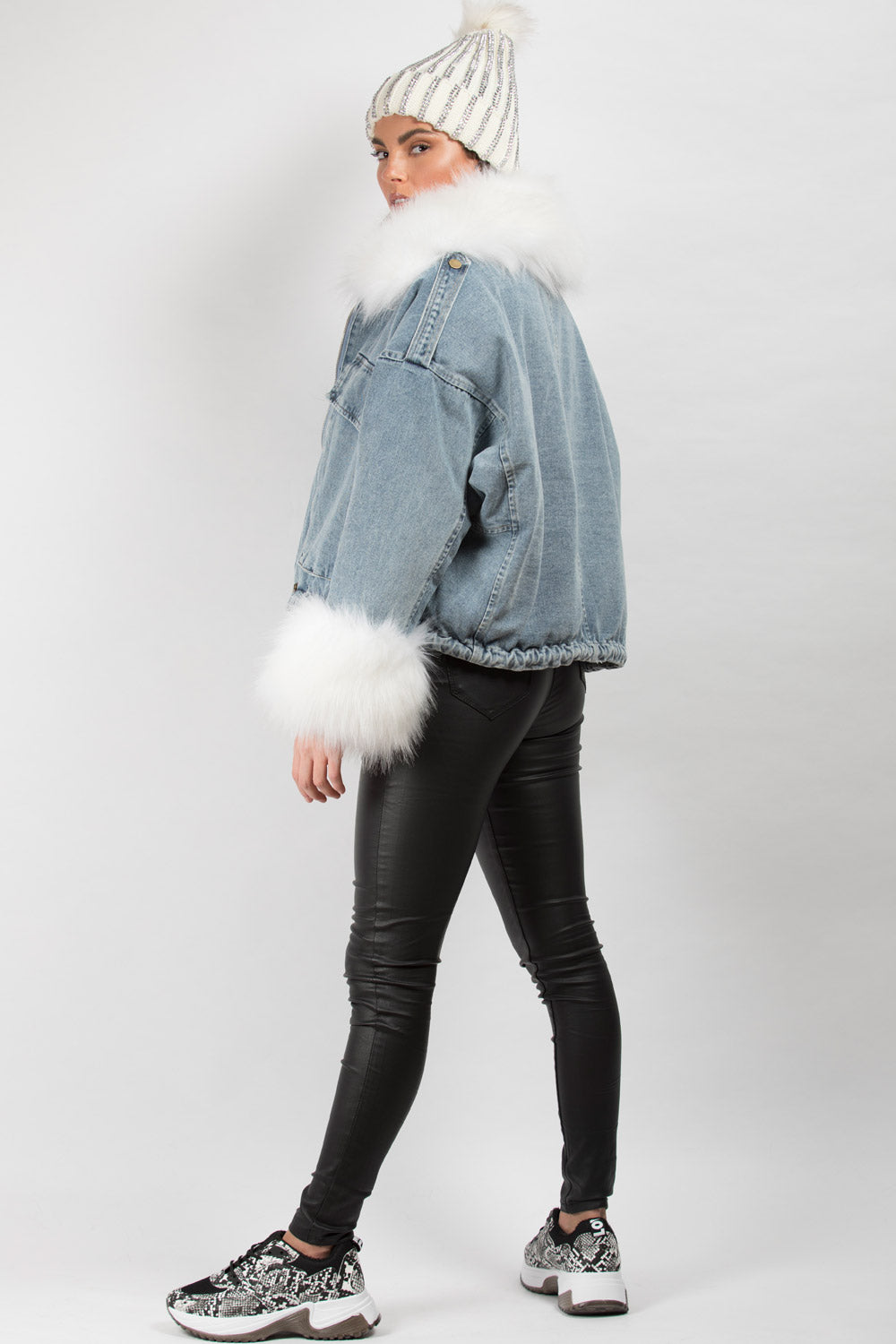 faux fur oversized denim jacket