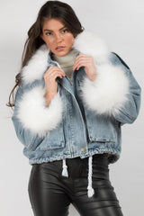 fur collar denim jacket womens uk