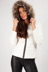 faux fur hood vinyl coat white