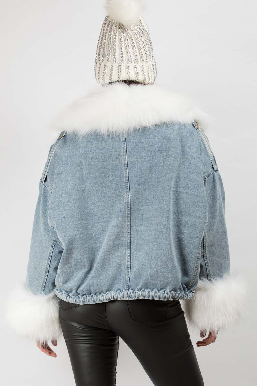 denim oversized jacket with white faux fur collar