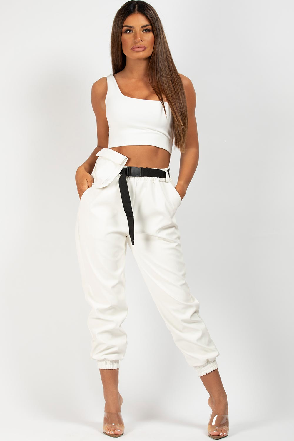 white pu trousers