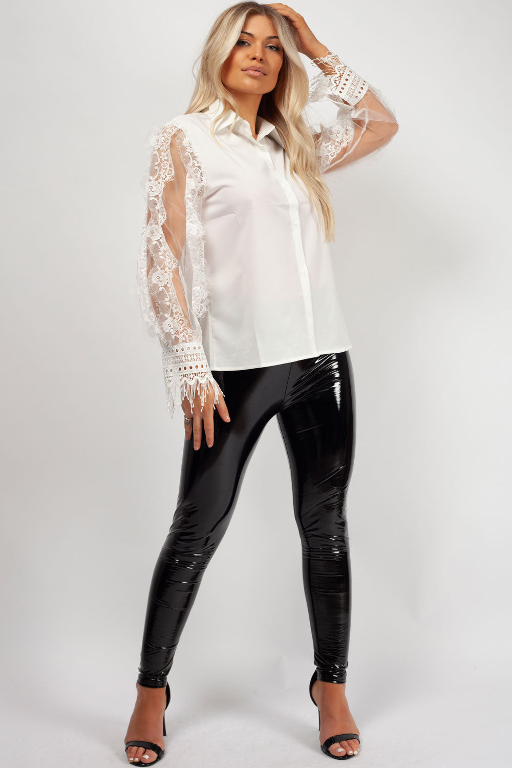 long sleeve lace shirt white