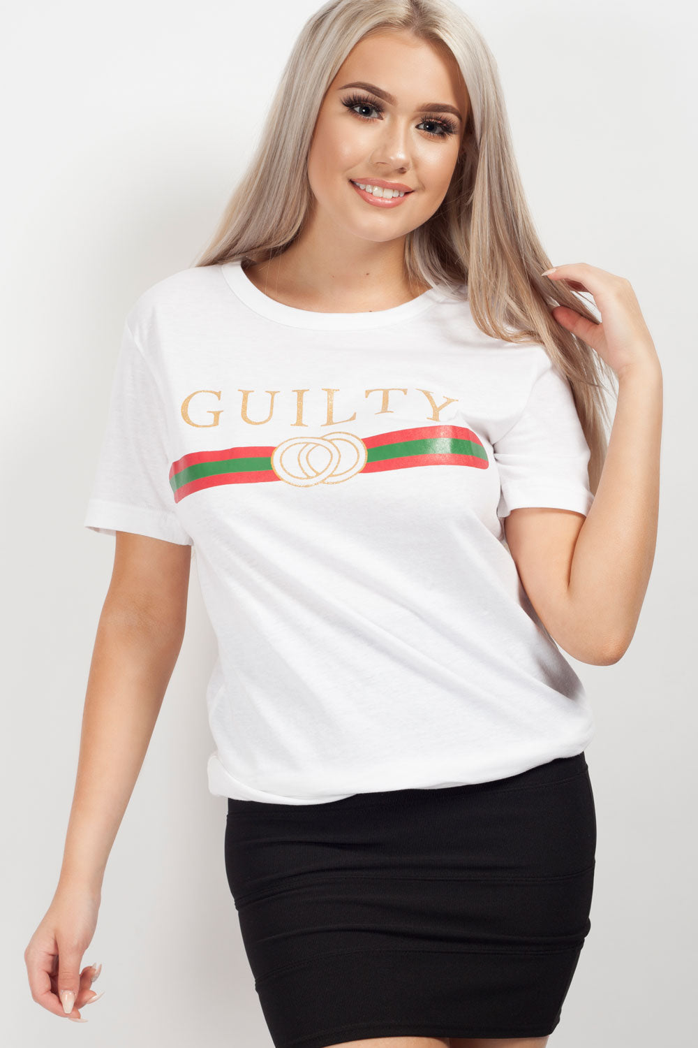 white guilty slogan crop top