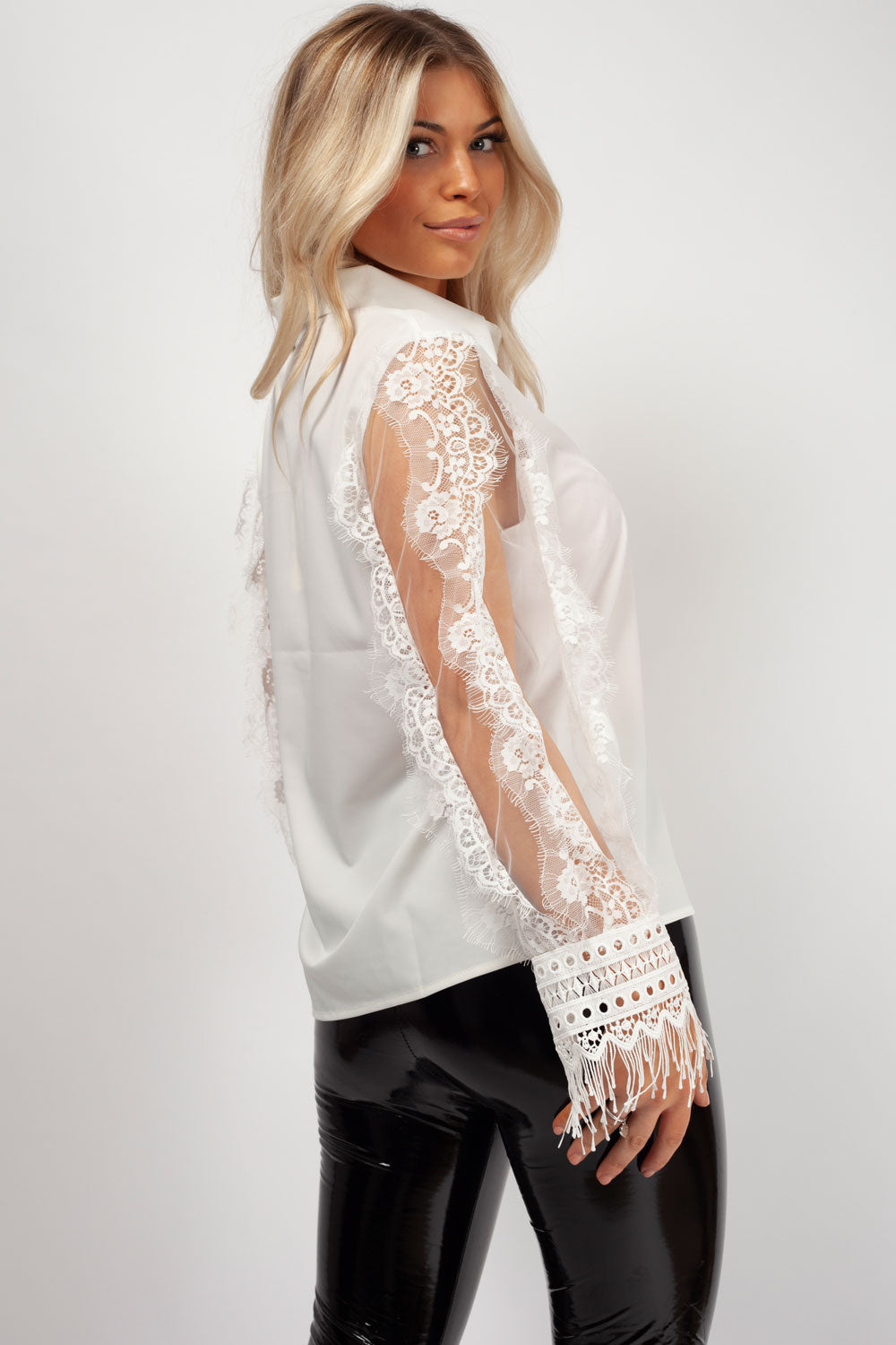 lace long sleeves shirt white