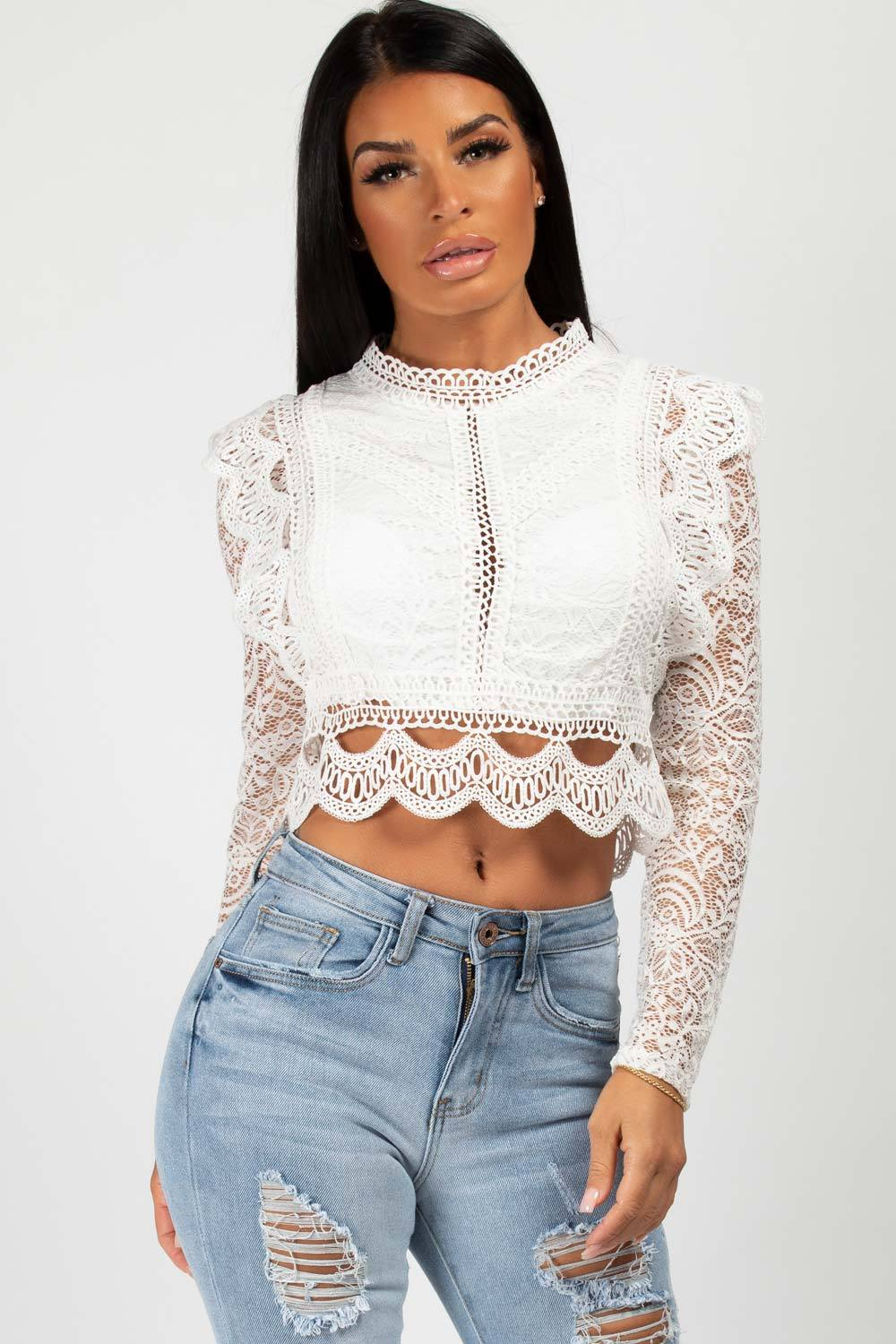 white lace dressy top