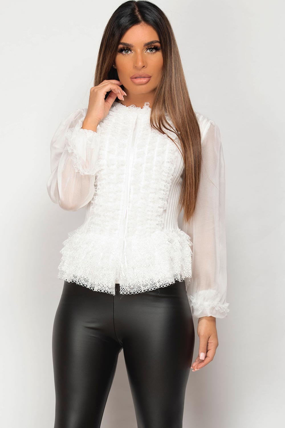 white ribbed jumper with lace and frill detail