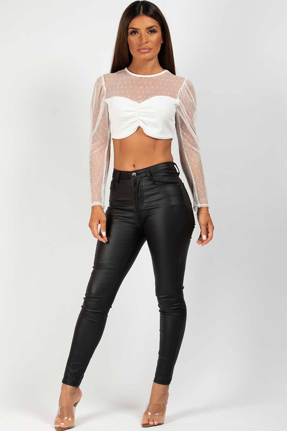 white long sleeve going out crop top