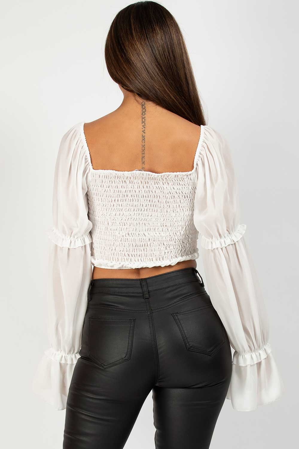 white long sleeve ruched crop top