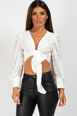 white polka dot long lace sleeve tie front crop top