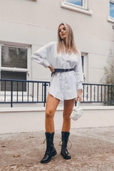 womens white oversized shirt dress