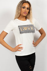 white love embroidery tee shirt