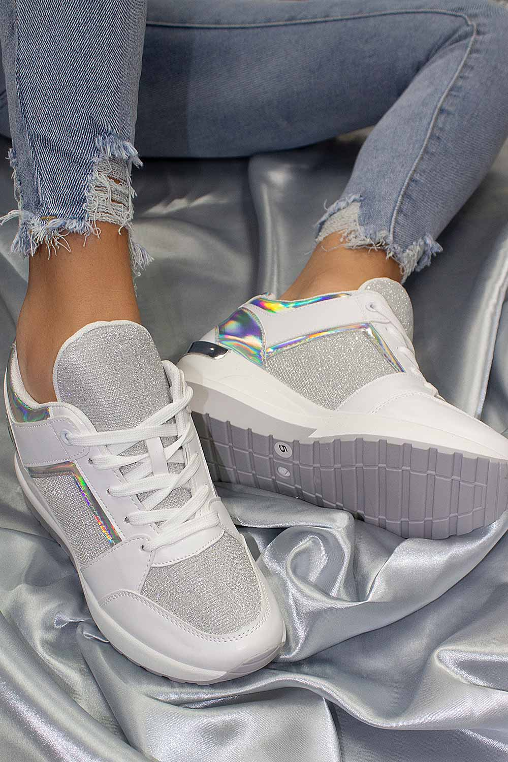 womens white chunky wedge trainers