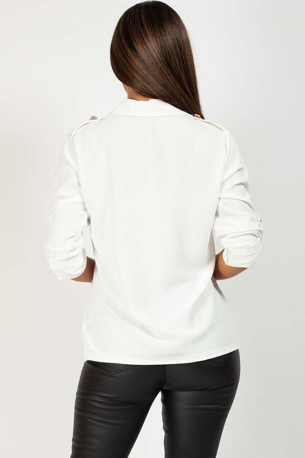 womens white shirt with gold button detail