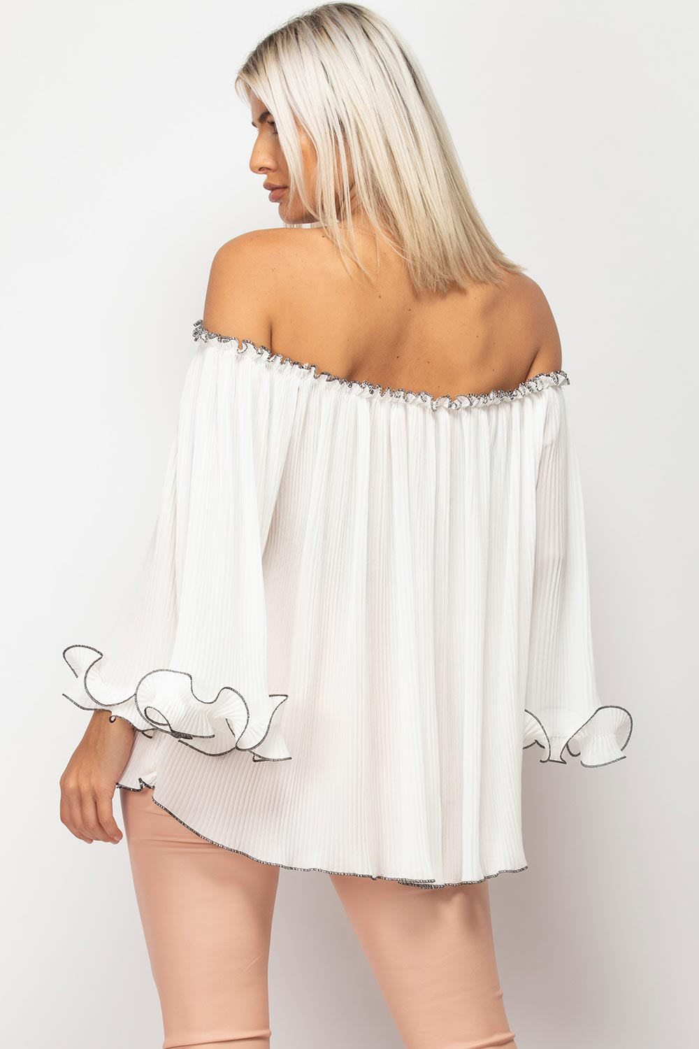 White Bardot Frill Cuff Top