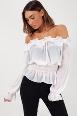 ruffle detail off shoulder top white