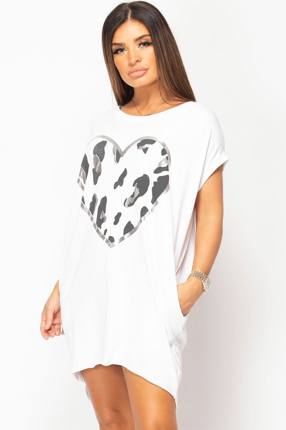 white oversized top with heart print uk