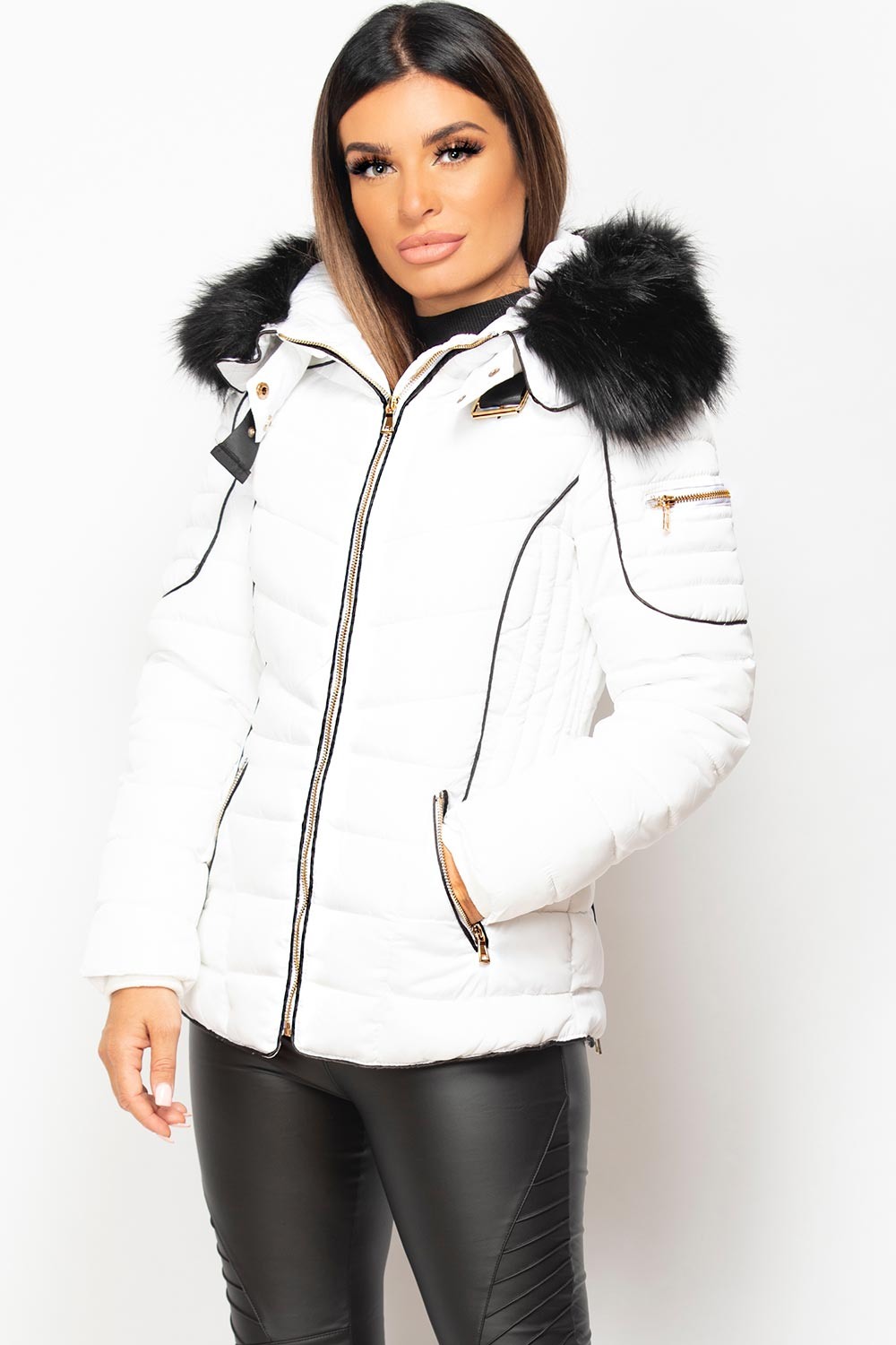 womens white puffer coat with faux fur hood