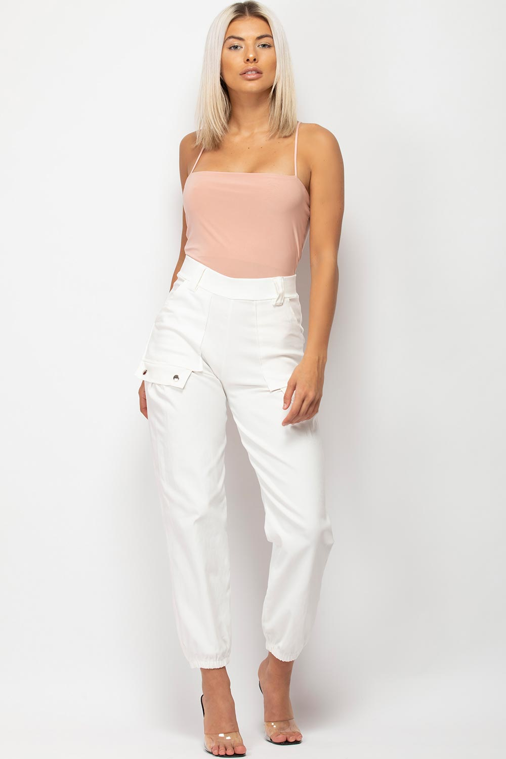 white high waisted cargo trousers womens