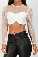 white sheer mesh long sleeve crop top