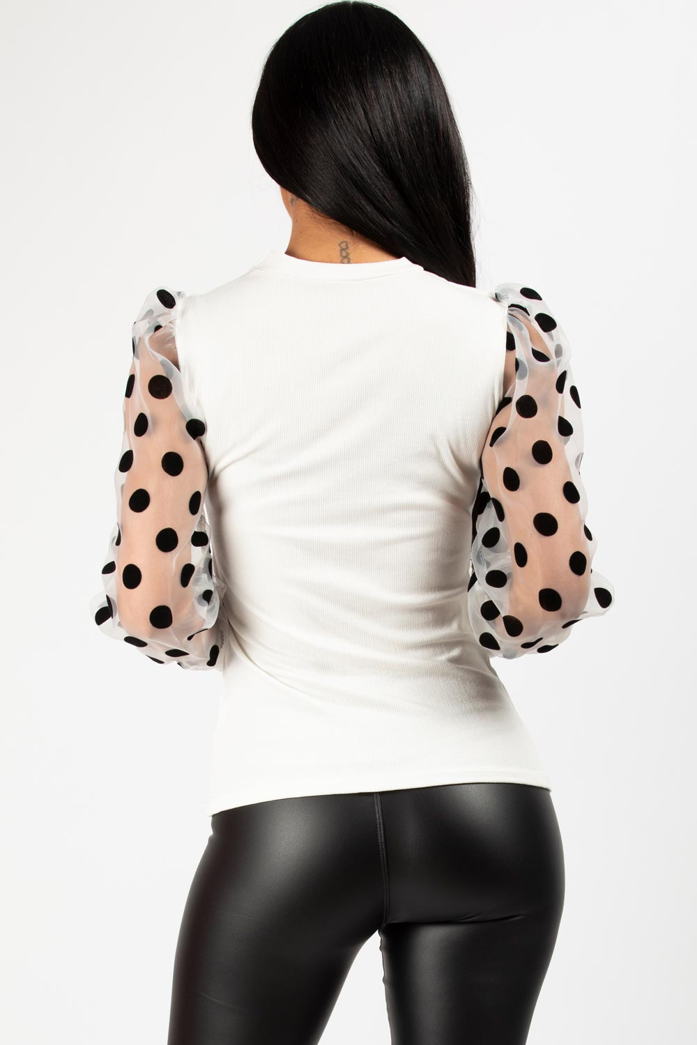 sheer puff sleeve polkadot ribbed top