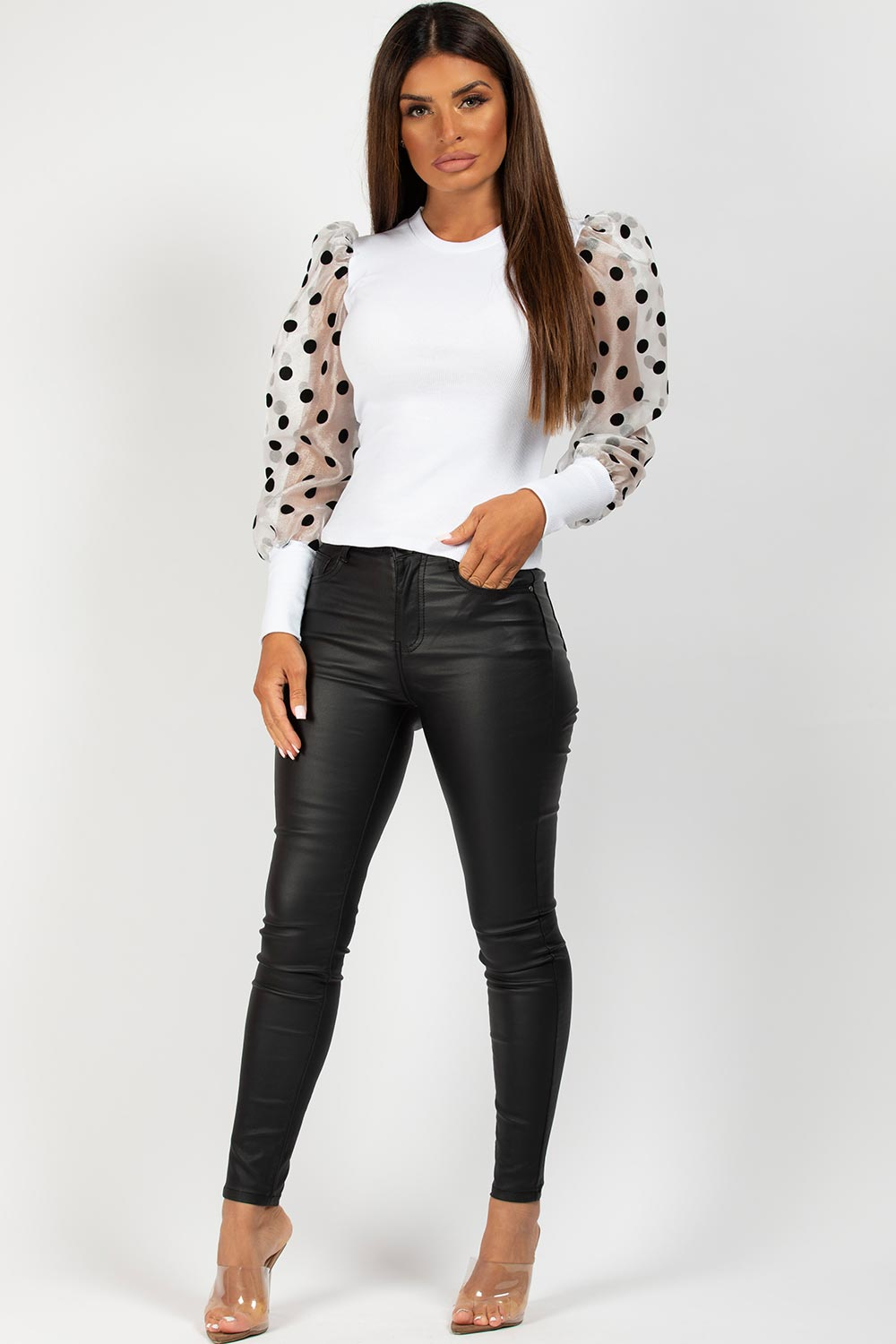 polka dot organza puff sleeve ribbed top white