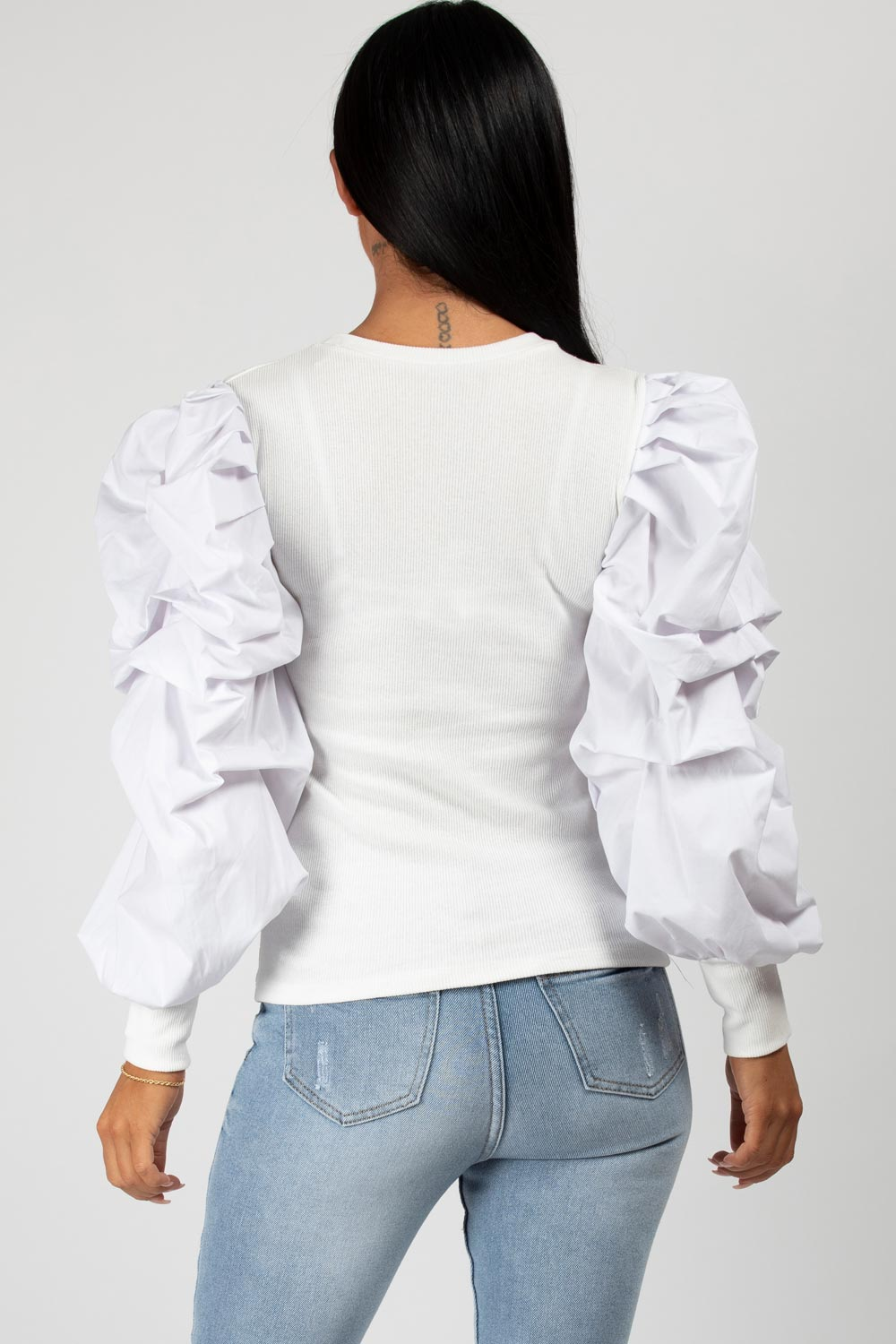 puff sleeve rib top white