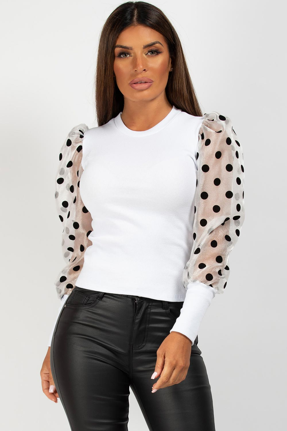 white puff sleeve ribbed top