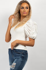 white satin ruched sleeve t shirt