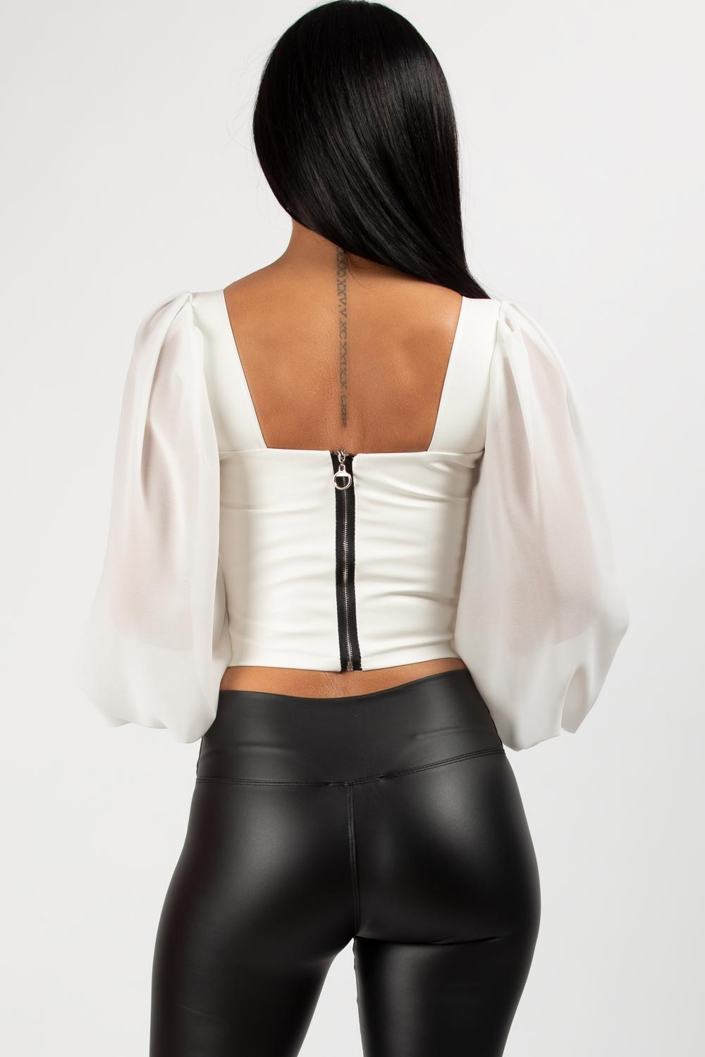 chiffon puff sleeve corset top white