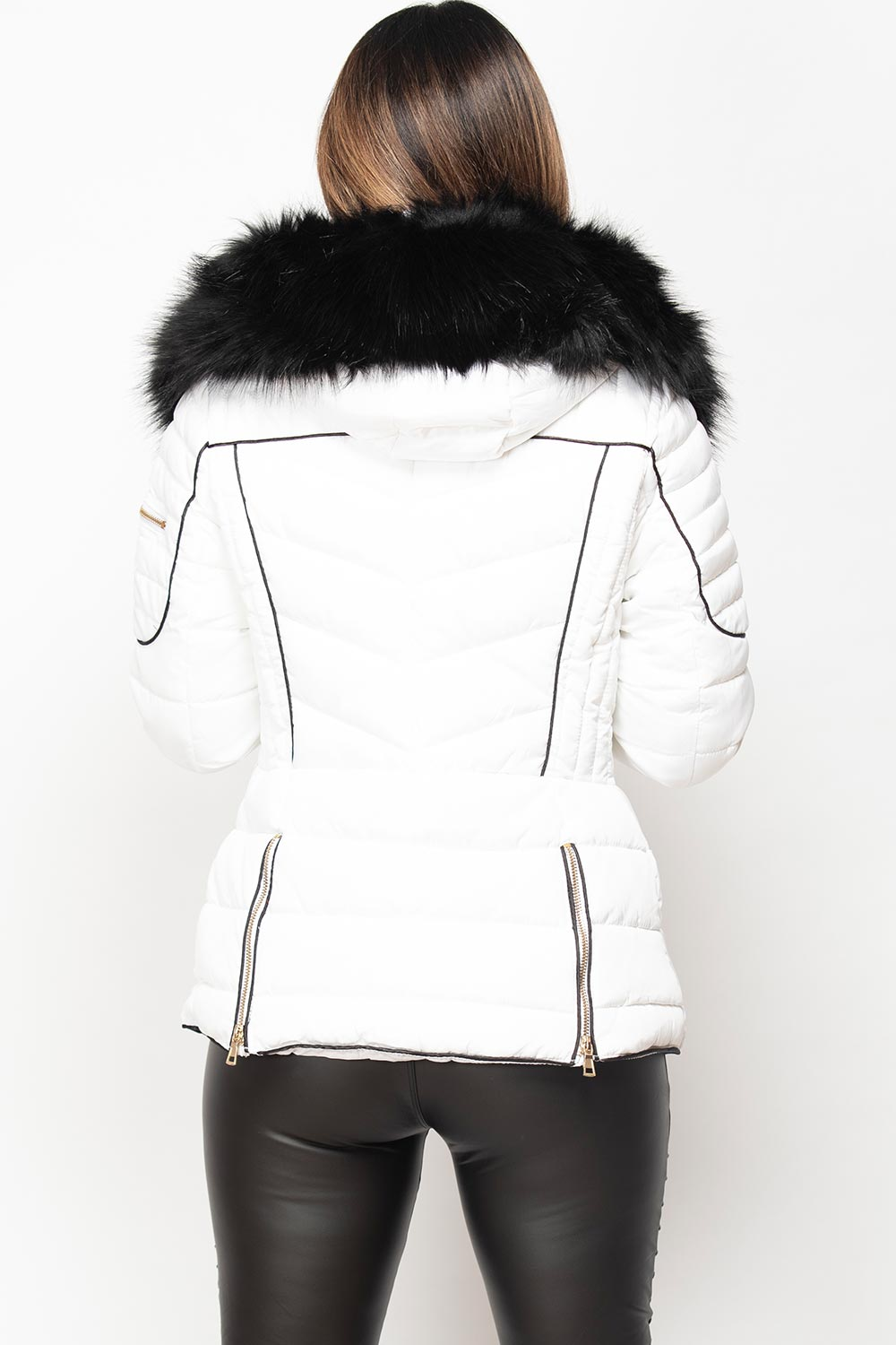 white chunky fur hood puffer coat