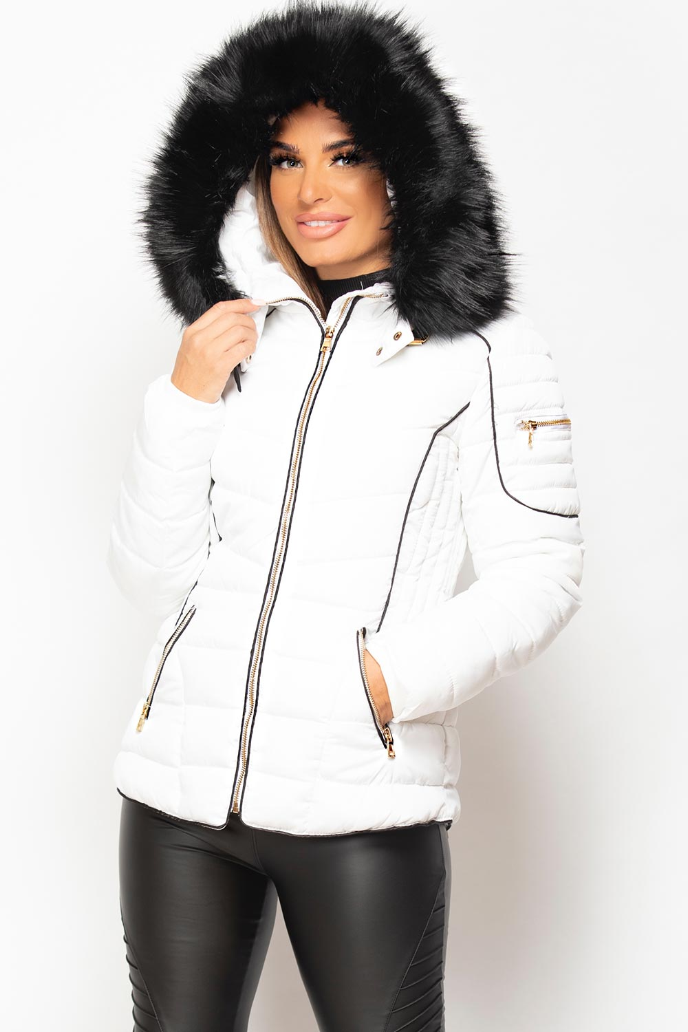 white puffer coat with fur hood womens
