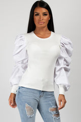 ruched puff sleeve rib top white