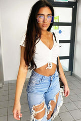 white ruched front crop top