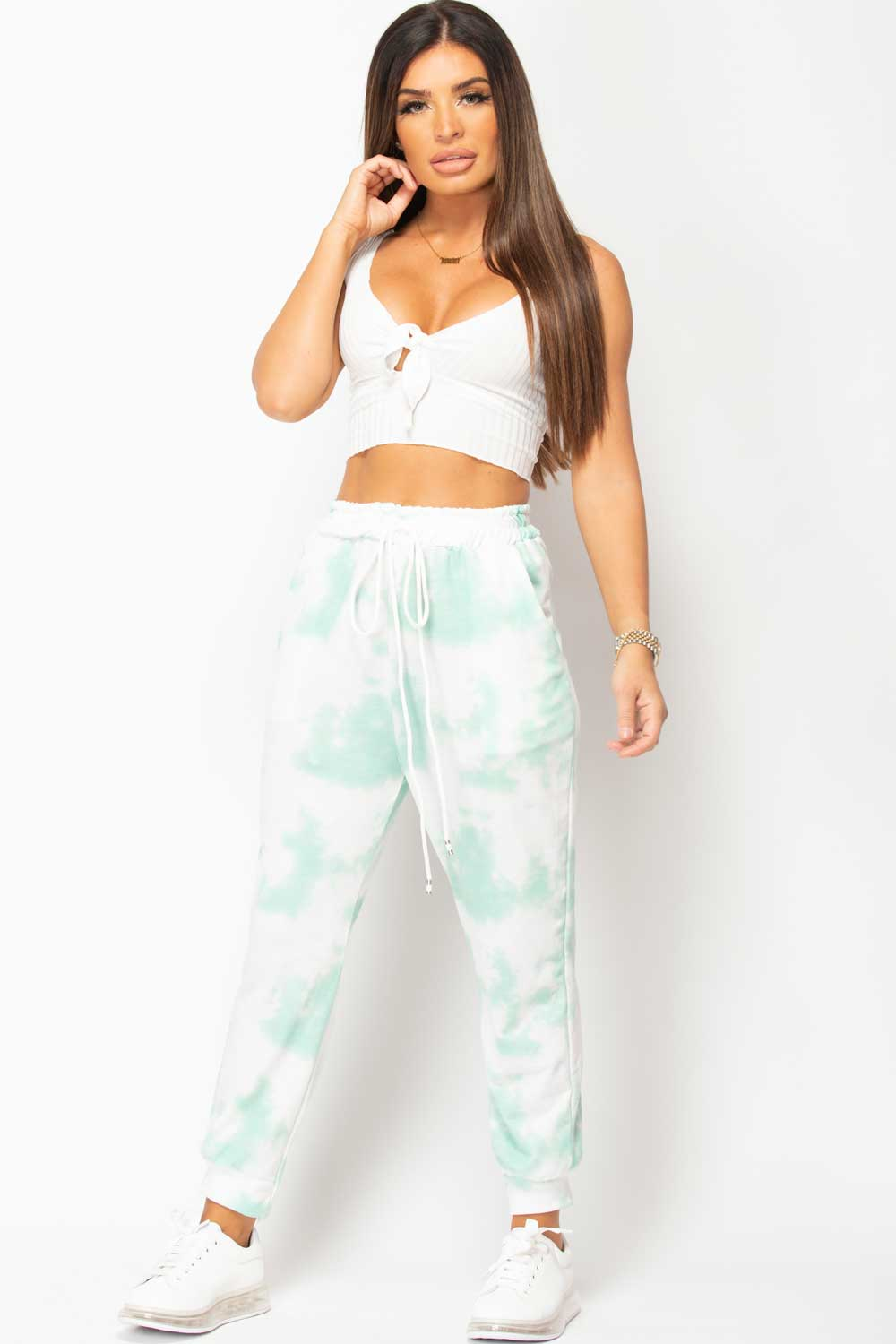 white knot front crop top