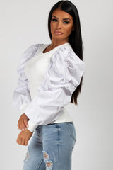 white puff sleeve rib top