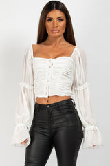 button front ruched crop top white