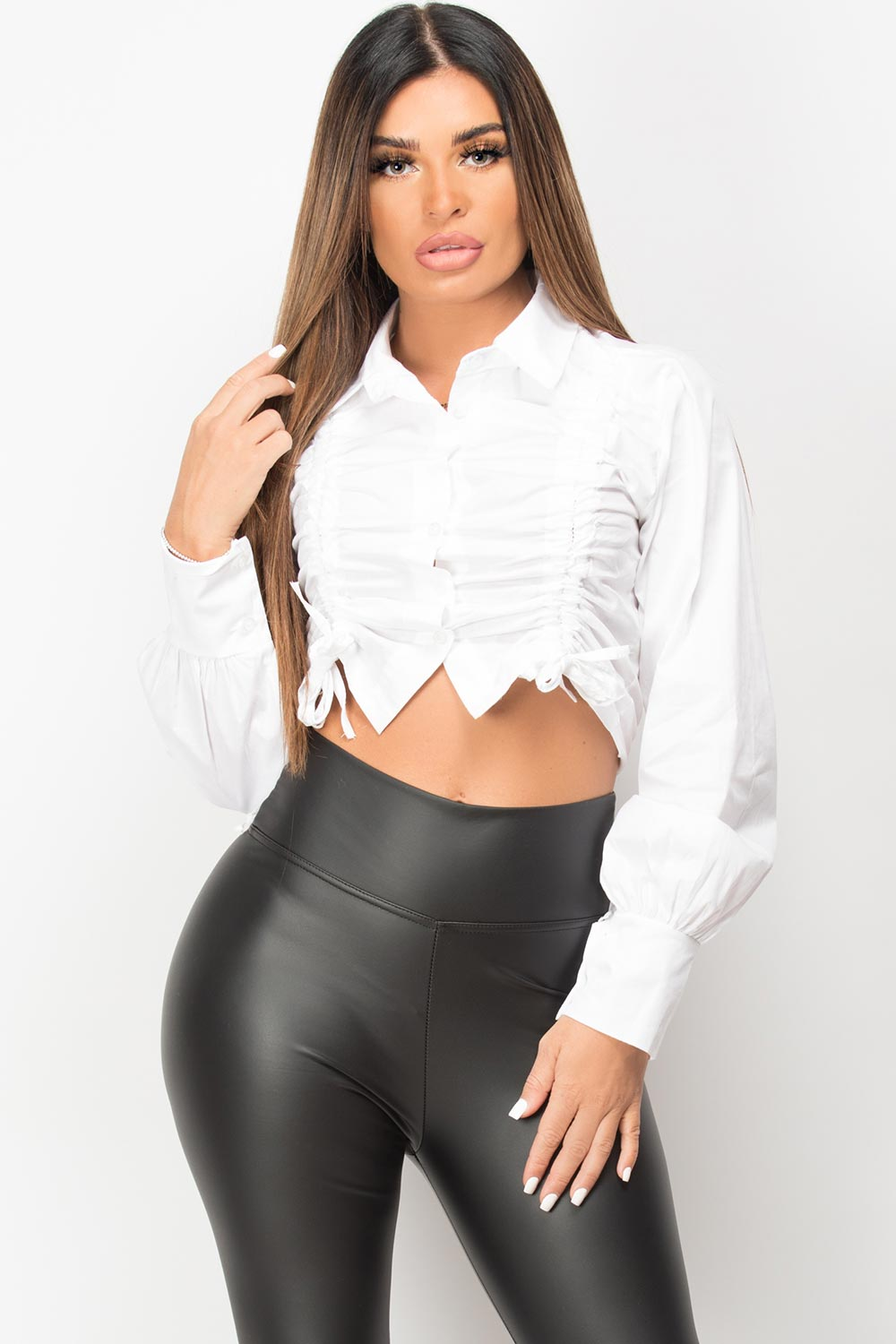 white ruched front crop shirt