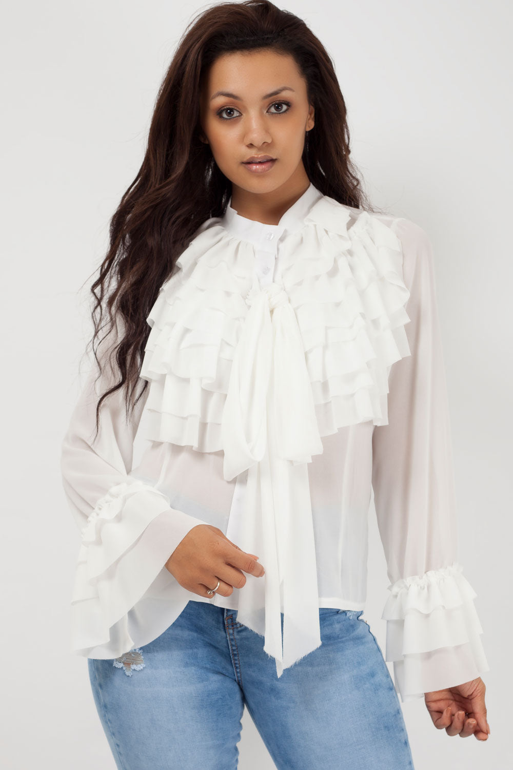 345e0a1f8638a4 white pussy bow blouse styledup fashion. black ruffle top long sleeve ...