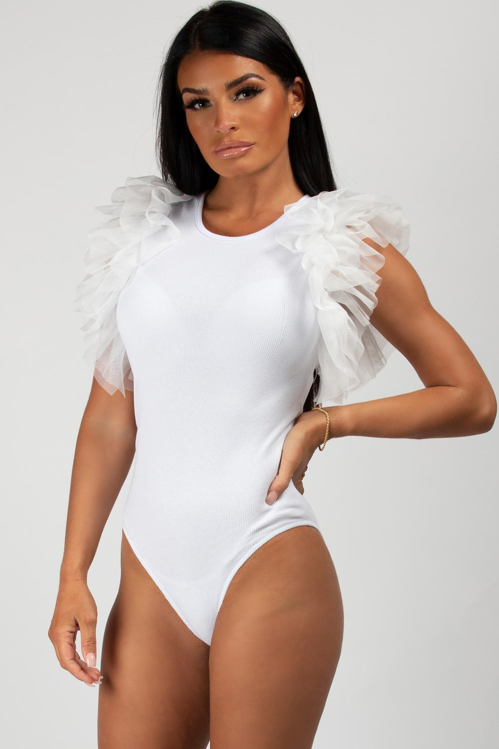 white tutu sleeve bodysuit