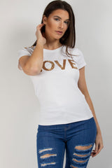 love sequin embellished t shirt white