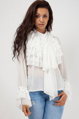 frill long sleeve blouse white styledup fashion
